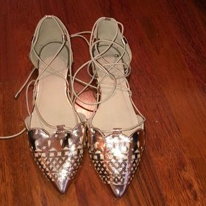 ASOS Rose Gold lace up flats size 7(UK)